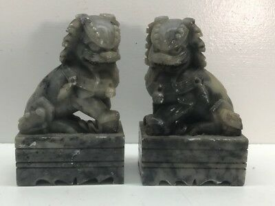 Pair Of Carved Gray White Jade Foo Lion Dogs Or Temple Lions - Vintage