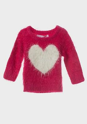 MINOTI girls kids designer print fluffy jumper sweater pink navy 6-12-18-24 2-3Y