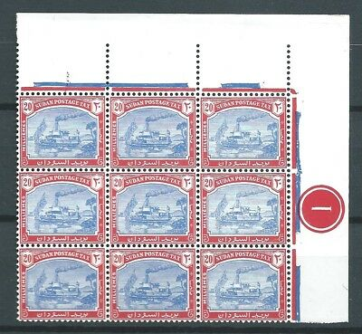 Sudan 1948 Postage Due 20 Mills Block 9 Mnh Ships See Both Scans For Condition