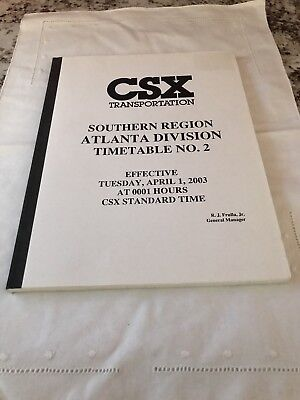 CSX Transportation Southern Region Timetable Book