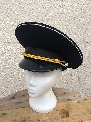 Vintage Russian Soviet USSR Officers Parade Cap Steampunk Goth-Size 59