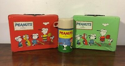 2 Vintage Peanuts Vinyl Lunchbox W Thermos 1965 Red & Mint Green Flight Snoopy