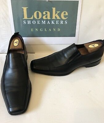 Loake Black Leather Shoes/Loafer Made In Italy Size UK 8 EU 42
