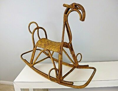 Vintage Franco Albini Bamboo Rattan Rocking Horse with Woven Saddle Seat MCM
