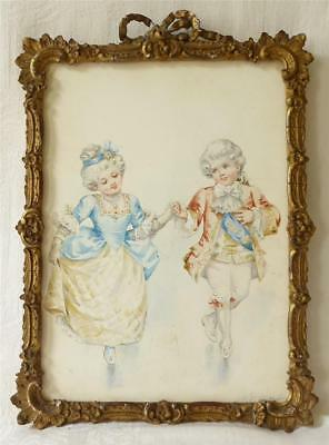 Antique Late 19Th Century Watercolour 'When First We Met' Signed M Ayoub