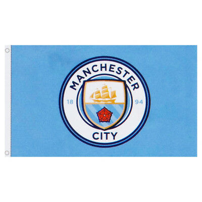 MANCHESTER CITY FC CORE CREST FLAG BANNER 5' X 3' ft FOR WINDOW CAR GIFT XMAS