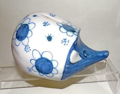 David Sharp Rye Pottery Sussex Hedgehog Money Box Glazed in Blue