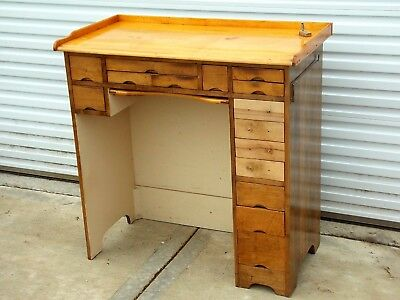 Vintage Antique 15 Drawer Watchmaker's Work Bench From Watch Repair Shop