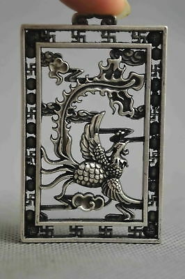 Chinese Culture Collectable Miao Silver Carve Myth Phoenix Amulet Pendant Rare