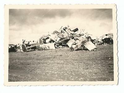 Original WW2 photo - Blown Up, Captured & Wrecked pile of German Aircraft