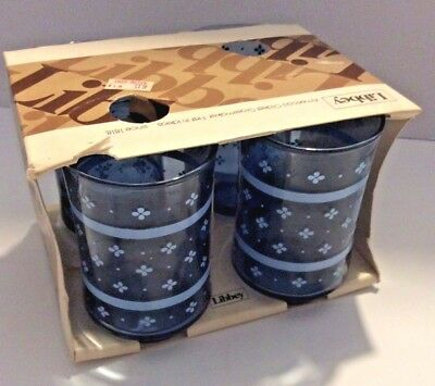Vintage Libbey Glass Cobalt Blue Flower Pattern 4 Juice Glasses 6 oz Unique New!