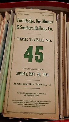 Fort Dodge, Des Moines & Southern Railway Co. Timetable 45 Effect May 20, 1951