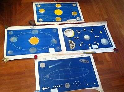 Vintage School Charts Astronomy Lot Of 4 Moon Earth Planets Comets.sweden