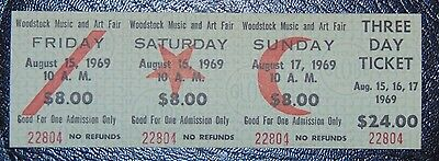 Original 1969 3 day Woodstock Ticket