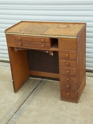 Antique Vintage 8 Drawer Watchmaker's Work Bench From Watch Repair Shop