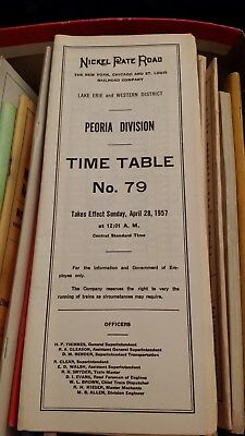 Nickle Plate Road Lake Erie/ Western District Peoria Division Time Table 79 1957