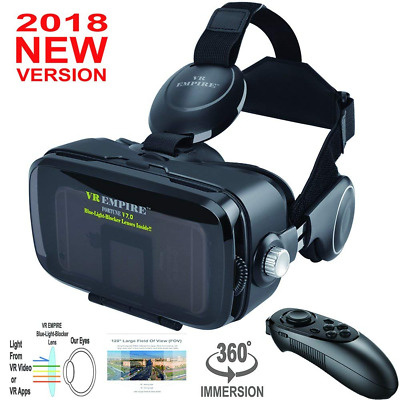 VR Headset With VR Remote Anti-Blue-Light Lenses 120° FOV; Stereo 3D Glasses NEW
