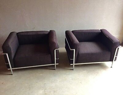 Le Corbusier LC3 (original Cassina) - Set of 2 chairs - original grey fabric