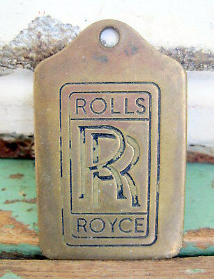 Vintage  Antique RR Rolls Royce Solid Brass Tag Plate