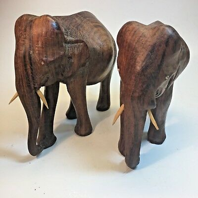 "Stately Hand-Carved Solid Wood 6"" x 6"" Elephants Perfect for Bookcase or Desk"
