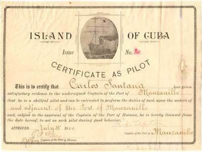 Cuba Cuban old 1900 Pilot Certificate, boat steamship captain navigation license