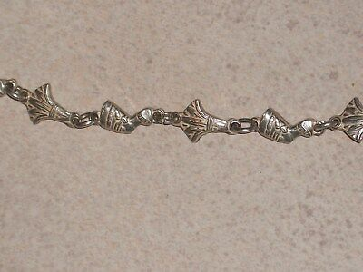 """Vintage Pharouh's Head and Wheat Silver Color Bracelet 9"""""""