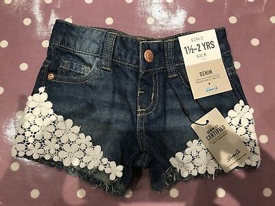 18-24 Months Primark Girls Denim Shorts Lace Detail BNWT