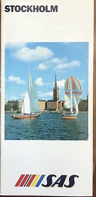 Rare Vintage 1984 Sas Airlines Stockholm Travel Brochure Sweden