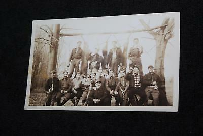 1920s-30s Group of Hunters Drinking Booze w Hung Up White Tail Deer & Guns Photo