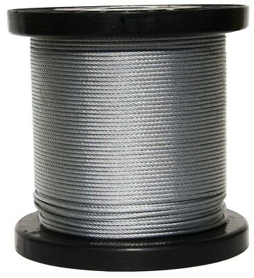 "T-304 Grade 7 x 7 Stainless Steel Cable Wire Rope 1/8""- 250ft"