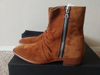 afd1c802393 AMIRI SKINNY STACK Brown Leather Suede Boots SZ EU 40 US 7 - $500.00 ...