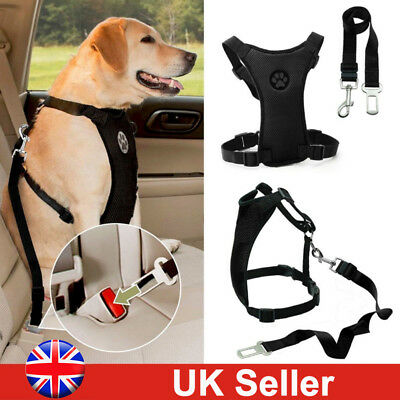 UK Air Mesh Puppy Pet Dog Car Harness Seat Belt Clip Lead Safety for Travel Dogs