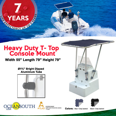 Heavy Duty Premium Boat T Top Blue, For Standard Center Console, aluminum tube