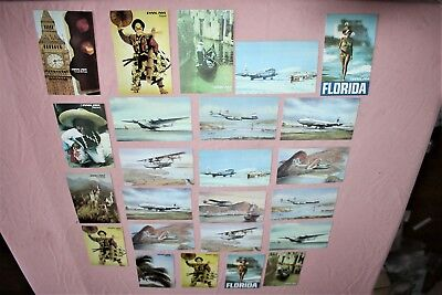 24 Pan Am Airlines American Brazil Dixie Clipper Airplanes Japan Postcard Lot