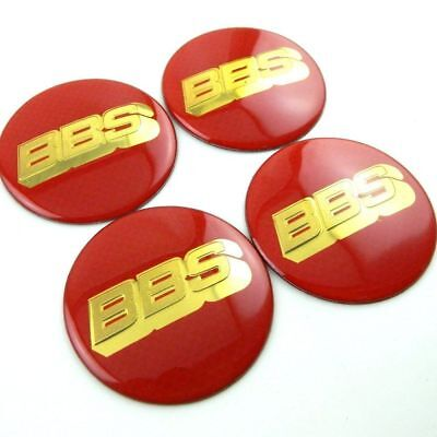 4x (Sticker Only) 65mm BBS Red / Gold Wheel Centre Cap Sticker Logo 3D Decal