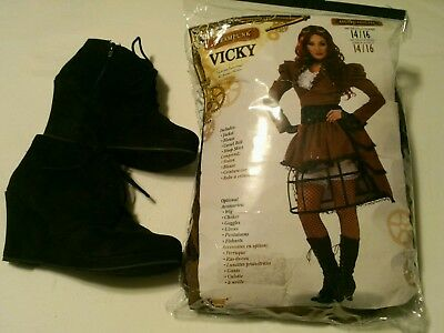 Steampunk Gothic Costume Fits Up To Womens 14/16 & Boots Sz 10