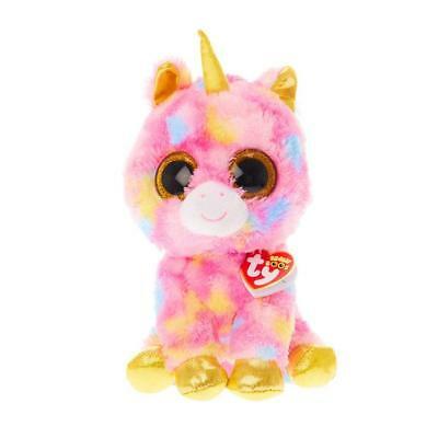"TY Beanie Boos FANTASIA Rainbow Tie Dyed Unicorn  7"" Multi Colored New With Tags"