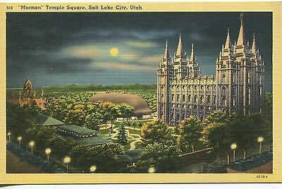 Linen Postcard of Moonlit Temple Block in SLC, Mint Condition, Unused, Tichnor