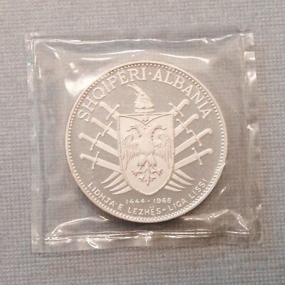 -  Rare 1969 Albania Five 5 Leke .999 Silver Proof - Only 1500 Minted