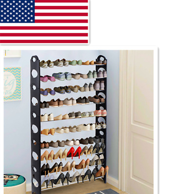 50 Pair 10 Tier Shoe Tower Rack Space Saving Storage Organizer Free Adjustable
