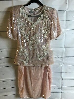 Stenay Blush Pink Sequined Top And Skirt Vintage 100% Silk Sz PP PM Art Deco