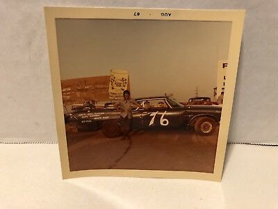 Vintage Snapshot Ascot Gardena Race Car Driver W/Car Ring Free Oil In Background