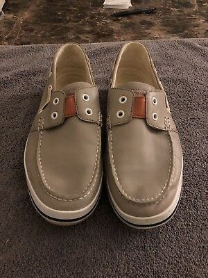Tommy Bahama Beige Leather Boat Shoes Size 9.5