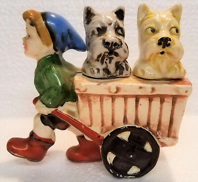 Vintage Porcelain Dogs in Wagon Salt & Pepper Shakers