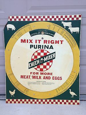 Vintage Purina Feeds Check-R-Mixer Farm Sign Mix It Right Scale