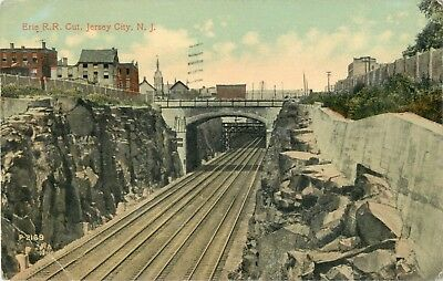 A View Of The Erie Railroad Cut, Jersey City, New Jersey NJ 1914
