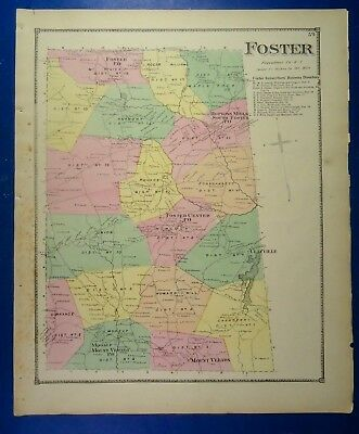 1870 Foster, Providence Co., Rhode Island, Hand-Colored Map, D.G Beers Co.