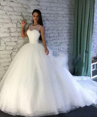 Sparkly Ball Wedding Dresses Princess Corset White Ivory Tulle Train
