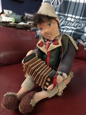 Vintage Cloth Andexer Garmisch Seated Boy Doll with Accordion  #10 Germany