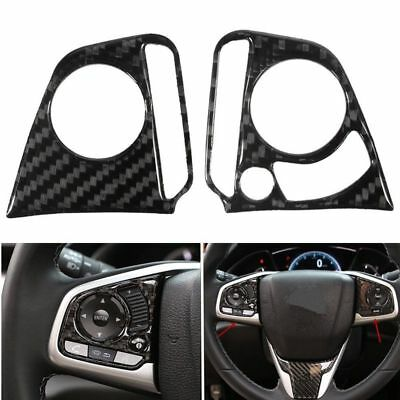 2pcs Carbon Fiber Steering Wheel Button Cover Trim Decor For 2016 Honda Civic